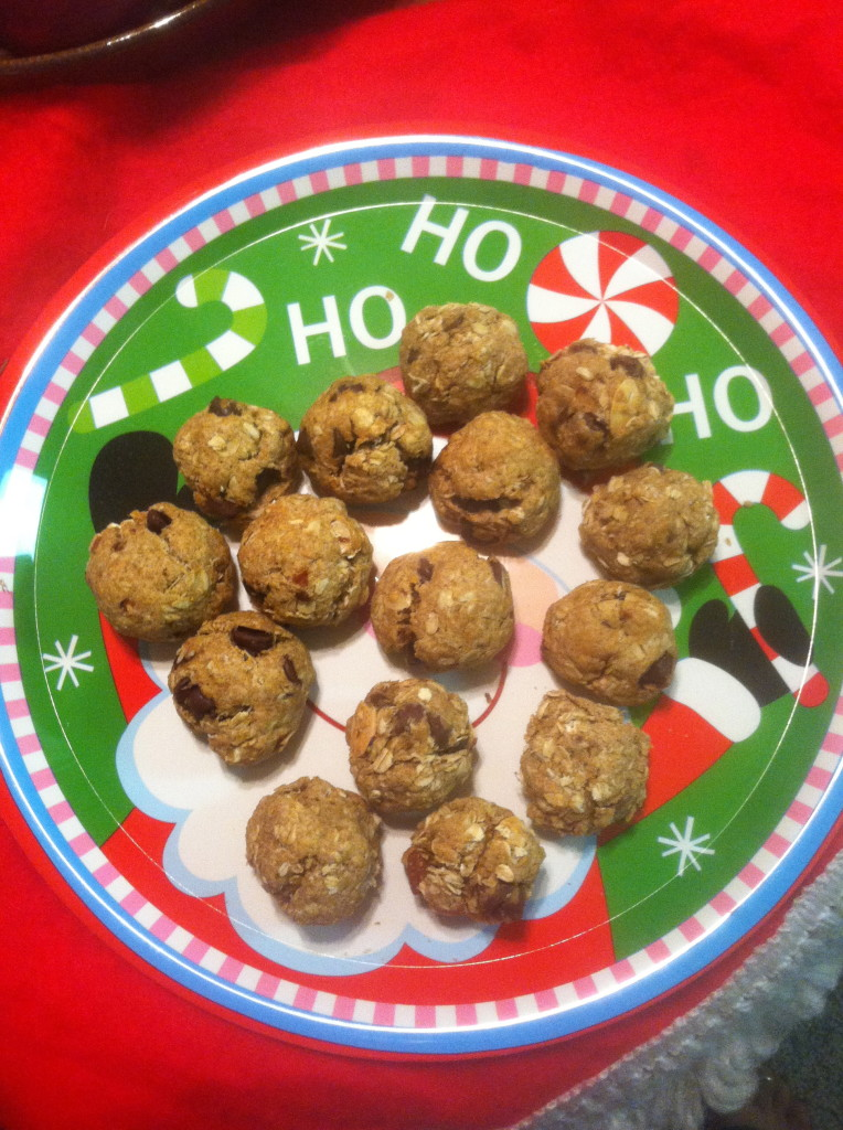 Protein Cookie balls - substituting PureAlmond and bananas for sugar and oil.